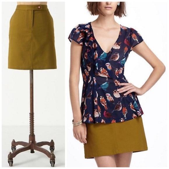 82270e147d Anthropologie Dresses & Skirts - ANTHRO VANESSA VIRGINIA Pickstitched Olive  Skirt